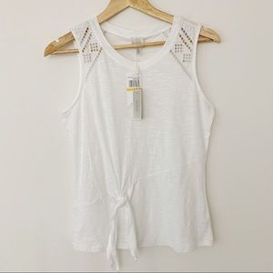 Cupio White Tank with Eyelet Embroidery